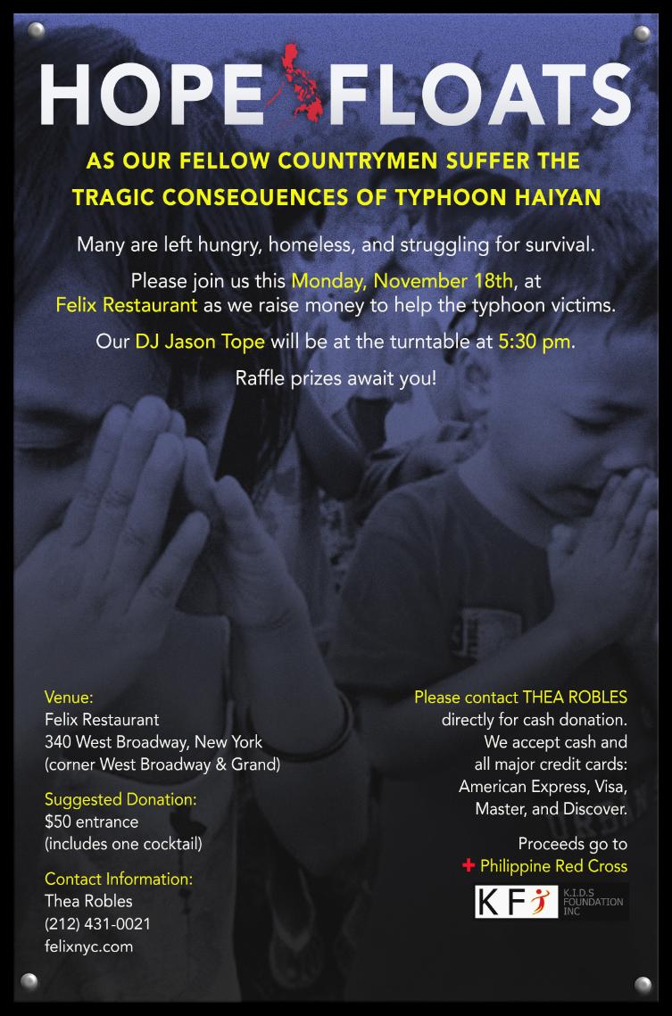 Felix Restaurant Philippine Charity poster
