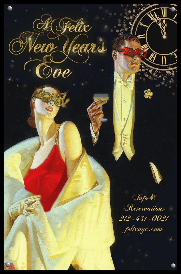 Felix Restaurant New Year's Eve poster